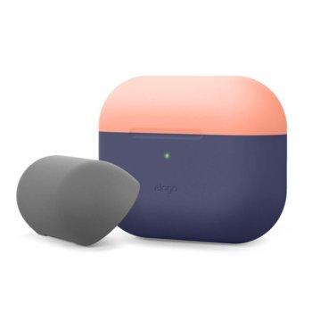 Калъф за слушалки Elago Duo Silicone EAPPDO-JIN-PEMGY, за Apple AirPods Pro, силиконов, тъмносин-оранжев image