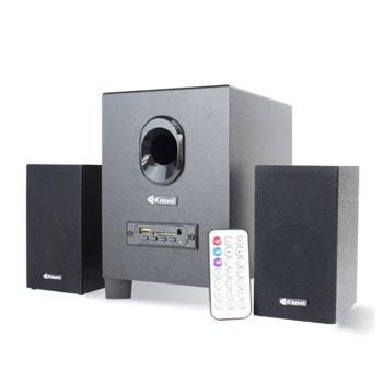 Тонколони Kisonli TM-5000U, 2.1, 11W, AUX, Bluetooth 5.0, USB, SD Card, черни, USB захранване, дистанционно  image