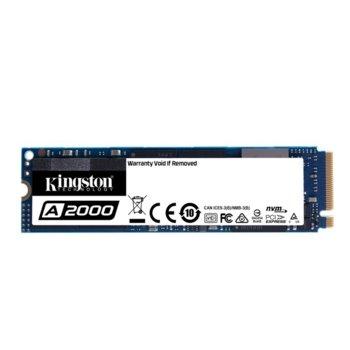 Памет SSD 250GB Kingston A2000, NVMe PCIe, M.2 2280, скорост на четене 2000 MB/s, скорост на запис 1100 MB/s image