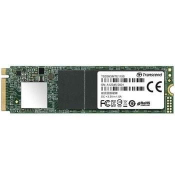 Памет SSD 256GB Transcend TS256GMTE110S, NVMe, M.2 (2280), скорост на четене 1700 MB/s, скорост на запис 1500 MB/s image