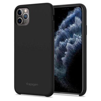 Калъф за Apple iPhone 11 Pro Max, термополиуретанов, Spigen Silicone Fit 075CS27128, черен image