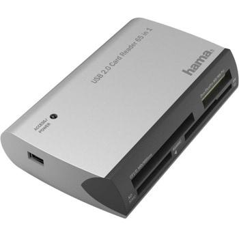 Четец за карти HAMA All in One (200129), USB 2.0, SD/microSD/CF/MS, сребрист image