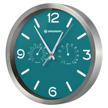 Часовник Bresser MyTime DCF, механичен, влагомер, термометър, cтенен, непромокаем, сребристо-зелен image