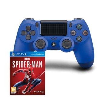 Геймпад PlayStation DualShock 4 V2 - Wave Blue с подарък Marvels Spider-Man (PS4), за PS4, безжичен, син image