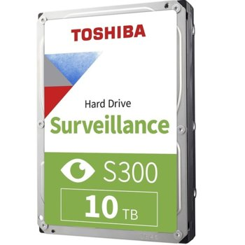 "Твърд диск 10TB Toshiba S300 - Surveillance, SATA 6Gb/s, 7200 rpm, 128MB, 3.5"" (8.89cm), bulk image"