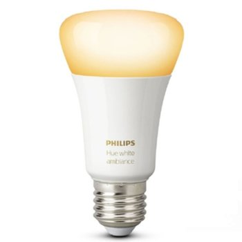 Смарт крушка Philips Hue 871869654873800, Wi-fi, 5.5W, формат A19, E27, 2200-6500K, 806 lm, димираща, бяла светлина image