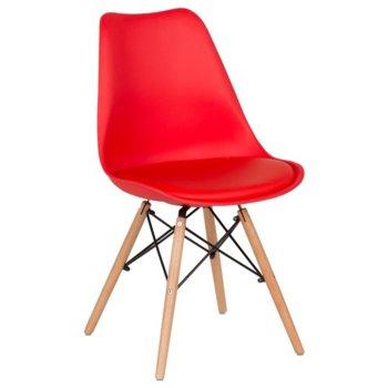 Трапезен стол Carmen 9960, еко кожа, база от метал и бук, червен image