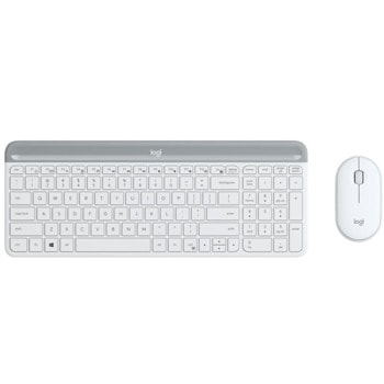 Комплект клавиатура и мишка Logitech Slim Combo MK470, безжични, безшумни, USB, бели image