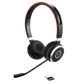Слушалки Jabra Evolve 65 MS Duo, безжични, микрофон, Bluetooth/USB, до 10 часа време за работа, черни image