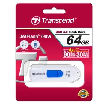 Памет 64GB USB Flash Drive, Transcend JetFlash 790, USB 3.1, бял image