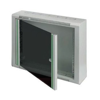 "Комуникационен шкаф Security Professionals MR.WTR12U15.02, 19"", 12U, 600 x 150 x 627, жилищен, slim дизайн, секретна ключалка, 4мм темперирано стъкло, сив image"