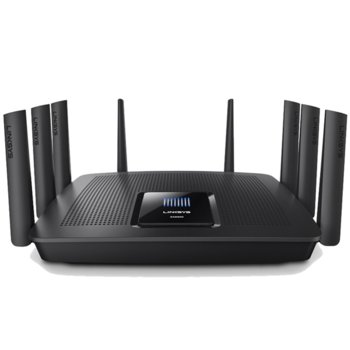 Рутер Linksys EA9500, 5400Mbps, 2.4GHz(1000 Mbps)/5GHz-1(2166 Mbps)/5GHz-2(2166 Mbps), Wireless AC, 8x LAN 1000, 1x WAN 1000, 1x USB 3.0, 1x USB 2.0, 8x външни антени, двуядрен процесор 1.4GHz image