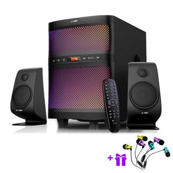 Тонколона Fenda F580X, 2.1, 70W(2x17.5+ 35W)RMS, Bluetooth 4.0, USB, черна, Led, SD слот image