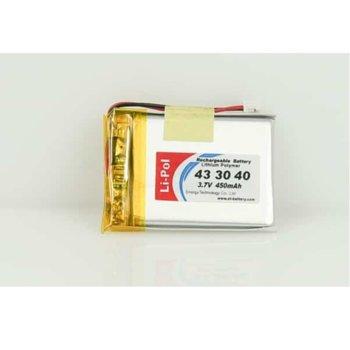 Литиева батерия LP433040-PCM, 3.7V, 450mAh, Li-polymer, 1бр., PCM защита image