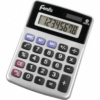 Калкулатор Forofis 91596, 8-разряден LCD дисплей, настолен, основни математически действия, сребрист image