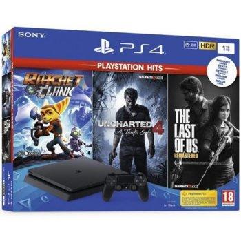 Конзола Sony PlayStation 4 Slim в комплект с 3 игри (RachetandClanc + The Last Of Us + Uncharted 4), 1TB, черна image