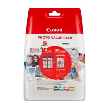 Глава за Canon PIXMA TS9150/TS6151/TS8152/TS6150/TS9155/TR7550/TS8151/TS8150/TS9150/TR8550, Cyan/Magenta/Yellow/Black - 2052C004AA - Canon, Заб.: 4 x 8.3 ml, фотохартия Canon Plus Glossy II PP-201, 10x15 cm image