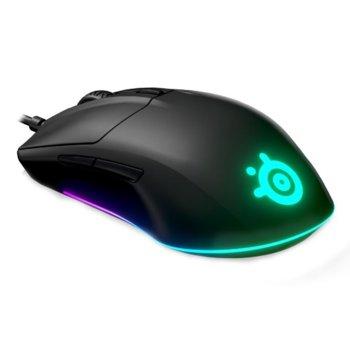Мишка SteelSeries Rival 3, оптична (8500 CPI), гейминг, USB, черна, 6 програмируеми бутона, TrueMove Core сензор, RGB подсветка image
