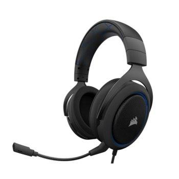 Слушалки Corsair HS50, микрофон, мемори пяна, гейминг, черни image