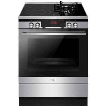 Готварска печка Amica 6226MCE3.45EEZPTSD(XX), енергиен клас A, 4 нагревателни зони, 77 л. обем, 11 функции, инокс image