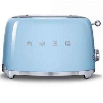 Тостер Smeg TSF01PBEU, функция отказ, автоматично центриране на филийките хляб, автоматично изваждане на филийките след печене, aвтоматично изключване, 7 степени на изпичане, 950 W image