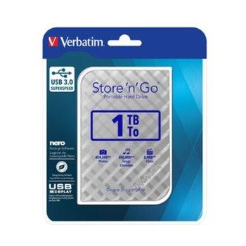 """Твърд диск 1TB Verbatim Store n Go (сребрист), външен, 2.5"""" (6.35 cm), USB 3.0 image"""