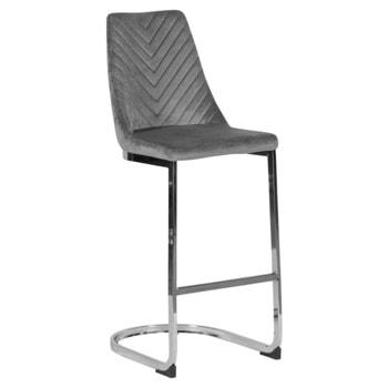Бар стол Carmen GRAYS, до 100kg, дамаска, хромирана база, сив image