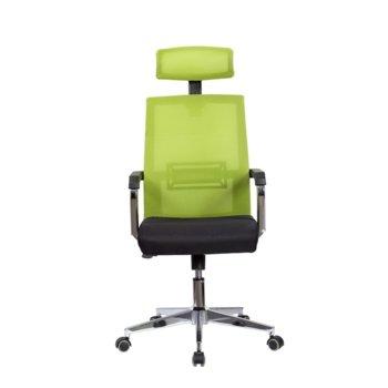 Директорски стол RFG Roma HB, дамаска и меш, черна седалка, светлозелена облегалка image