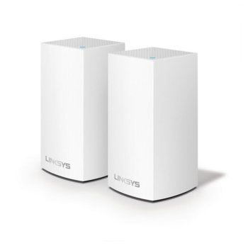 Wi-Fi система(2x бр.) Linksys Velop Intelligent Mesh VLP0102, 1200Mbps, 2.4GHz(300Mbps)/5GHz(867Mbps), Wireless AC, 1x LAN1000, 1x WAN1000, 3x вътрешни антени, 256MB Flash памет, 256MB RAM, Bluetooth 4.1 image