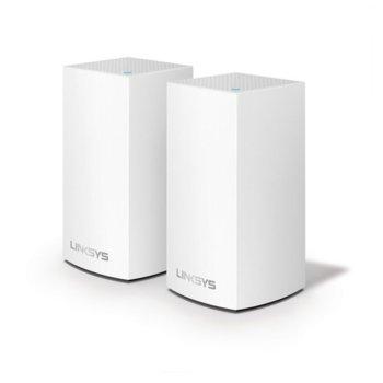 Wi-Fi система(2x бр.) Linksys Velop Intelligent Mesh VLP0102, 1200Mbps, 2.4GHz(300Mbps)/5GHz(867Mbps), Wireless AC, 1x LAN1000, 1x WAN1000, 3x вътрешни антени, 256MB Flash памет, 256MB RAM, Bluetooth 4.1 image
