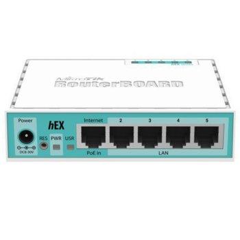 Суич MikroTik HEX RB750GR3, 5x (10/100/1000) Ethernet ports, 256MB RAM, 880MHz, PoE image