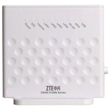 Рутер ZTE H108N, 300 Mbps, 2.4GHz(300 Mbps), Wireless N, 4x LAN 100, 1x WAN-ADSL2+, 1x USB 2.0, 2x вътрешни антени image