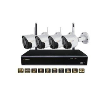 """Комплект 4x IP камери и NVR рекордер Q-See QPW204-4PW, насочени """"bullet"""", 2MP (1920x1080@30fps), 3.6mm обектив, H.264, IR осветленост (до 20м), външни, безжични, microSD слот, 1x SATA HDD image"""