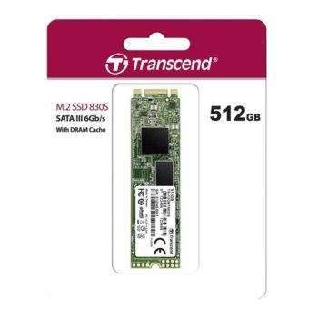 Памет SSD 512GB Transcend 830S, SATA III 6Gb/s, M.2 (2280), скорост на четене 560 MB/s, скорост на запис 520 MB/s image