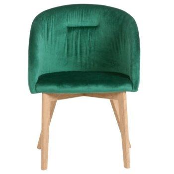 Трапезен стол Carmen 522, дамаска, метал, тъмно зелен image