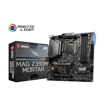 Дънна платка MSI MAG Z390M MORTAR, Z390, LGA1151, DDR4, PCI-E (DP&HDMI&DVI)(CF), 4x SATA 6Gb/s, 2x M.2 slots, 1x USB Type-C, 3x USB 3.1 Gen2, micro ATX image