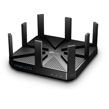 Рутер TP-Link Archer C5400, 5400Mbps, 2.4GHz(1000 Mbps)/5GHz-1(2167 Mbps)/5GHz-2(2167 Mbps), Wireless AC, 4x LAN 1000, 1x WAN 1000, 1x USB 3.0, 1x USB 2.0, 8x външни антени, двуядрен процесоре 1.4GHz image