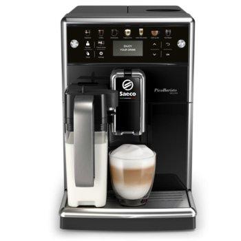 Автоматична еспресо машина Philips Saeco PicoBaristo SM5570/10, 13 напитки, 1,7л резервоар, вградена първокласна кана за мляко, 12-степенна регулируема мелачка, черна image