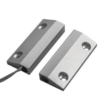 Магнитен датчик (мук) за метални врати, правоъгълен за повърхностен монтаж, алуминиева сплав, сив image