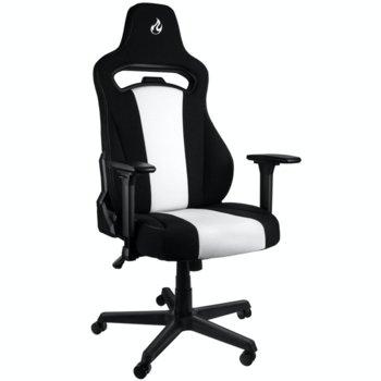 Геймърски стол Nitro Concepts E250, регулируем, възглавница за кръст, черен/бял image