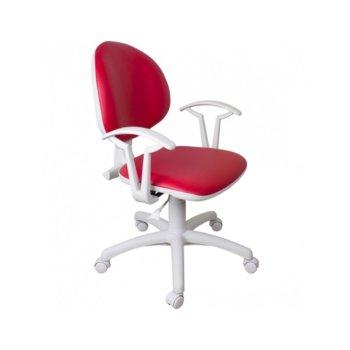 Офис стол SMART WHITE ЕКО, еко кожа, подлакътници, регулиране на височина, червен image