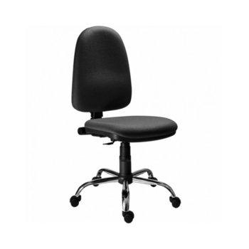 Офис стол Megane CR Cchrome, дамаска, хромирана база, регулиране на височина, черен image
