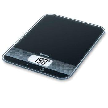 Цифров кухненски кантар Beurer KS 19 black kitchen scale, капацитет 5 кг, LCD дисплей, с включена батерия, черен image