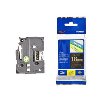 Brother TZ-344 Tape Gold on Black, Laminated, 18mm product
