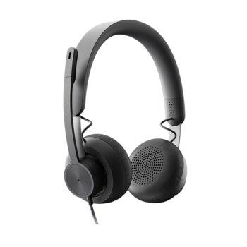 Слушалки Logitech Zone Wired, микрофон, USB, USB Type C, сиви image