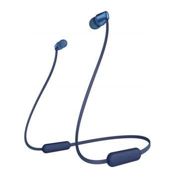 """Слушалки Sony WI-C310 в комплект с слушалки WI-C310(черни), микрофон, безжични, Bluetooth, до 15 часа време на работа, тип """"тапи"""", сини image"""