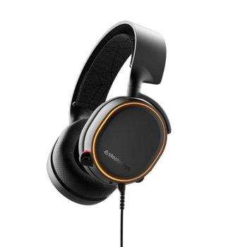 Слушалки SteelSeries Arctis 5 2019 Edition, гейминг, микрофон, контрол на звука, Prism RGB подсветка, черни image