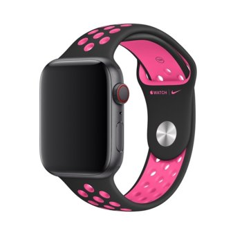 Каишка за смарт часовник Apple Watch (44mm) Nike Band: Black/Pink Blast Nike Sport Band - S/M & M/L, черна image