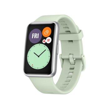 """Смарт часовник Huawei Watch Fit Stia-B09 (Mint Green), 1.64"""" (4.16 мм) AMOLED дисплей, 4GB памет, до 10 дни живот на батерията, водоустойчив, Bluetooth, сребрист с Light Green Silicone каишка image"""