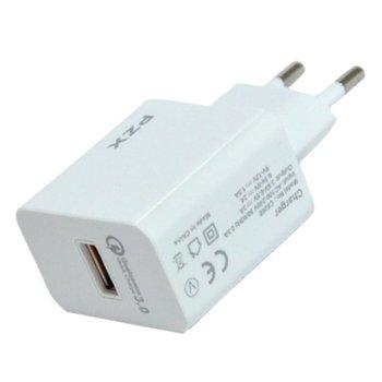 Зарядно устройство PZX Qualcomm Fast charger , от контакт към USB 3.0 (ж), 5V-12V / 1.5A-3.4A, бяло image